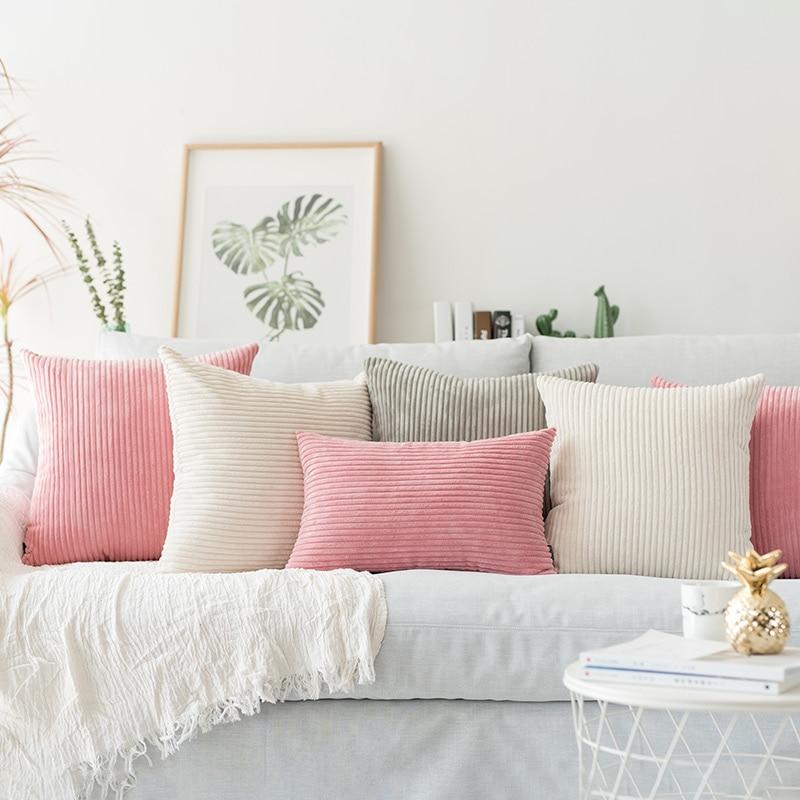 Sólido funda de almohada de pana Flocado de funda de almohada de terciopelo rosa gris azul café suave decorativo funda de almohada 45x45 cm/60x60 cm