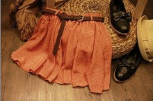 4 Colors Pleated Floral Chiffon Women Ladies Cute Mini Skirt Belt Include  Free Shipping F3051