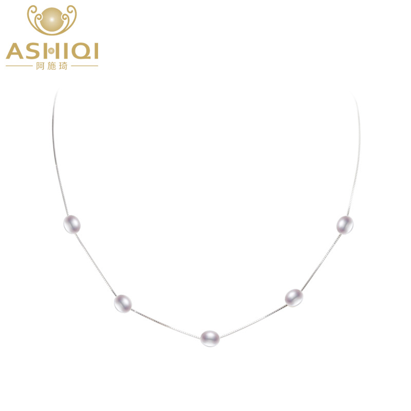 ASHIQI Real Pure 925 Sterling Silver Necklace Chain 6 7mm Natural Freshwater Pearl Pendant Jewelry For Women Gift in Necklaces from Jewelry Accessories