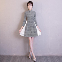 2019 Fashion modern Patchwork woolen and lace vintage chinese style dress for women qipao ladies vietnam New ao dai dress