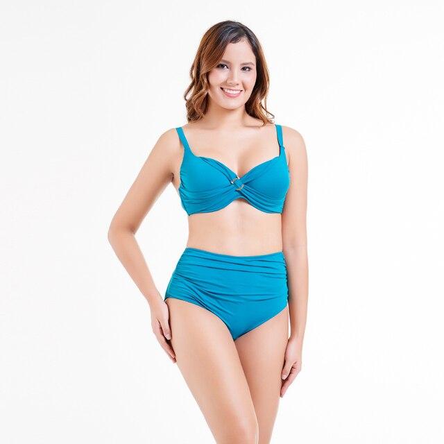 fd262e4f63dc7 2019 Mujer Plus Size Women Swimwear Push Up Bikini Set Solid High Waisted  Ladies Beach Wear
