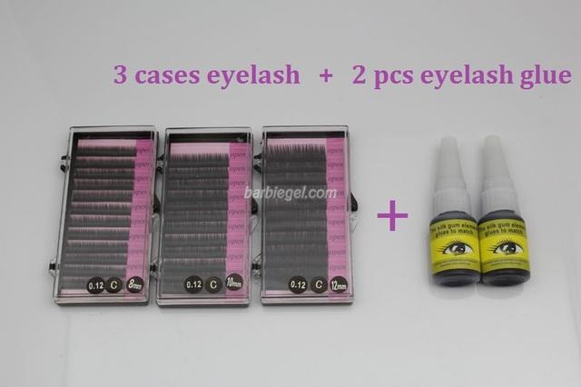 Mais recente Jogo Perfeito Conjunto de 3 Casos de Cílios Falsos Cílios Maquiagem + 2 pcs Cola Para Cílios 1 CONJUNTO