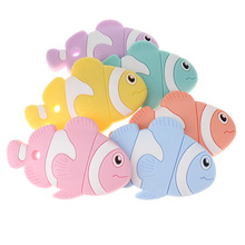 Cute Clown Fish 6pcs Silicone Baby Teethers Clownfish Bpa Free Chewable Infant Teething Nursing Toys DIY Pacifier Chain Pendant