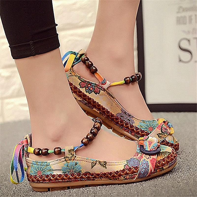 Women Summer Casual Flat Shoes Retro Floral Flats Beaded Ankle Straps Loafers Zapatos Mujer Embroidered Shoes Plus Size 42 lucyever women vintage square toe flat summer sandals flock buckle casual shoes comfort ankle strap women footwear mujer zapatos