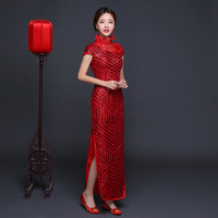 Red Sequins Long Chinese Dresses Cheongsam Modern Qipao Wedding Traditional Evening Gown Fashion Bride Oriental Style Dress