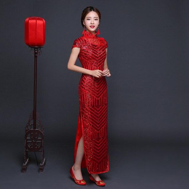 Visualizzza di più. Rosso Paillettes Lunghi Abiti Cinesi Cheongsam Moderno  Qipao Abito Da Sposa Tradizionale Abito Da Sera Della 5c48875cf91