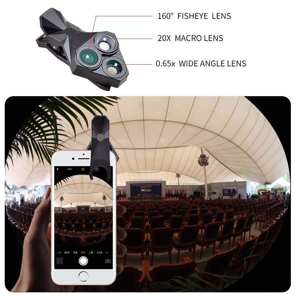 APEXEL arrival Camera Lens Kit 3 in 1 Fisheye Lens Wide Angle Macro mobile phone Lens Kit for iPhone Android Xiaomi APL-YT3 6