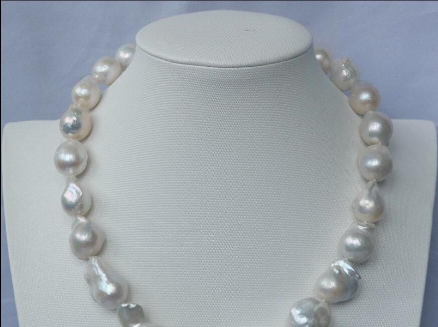 Hot sale new Style >>>>>natural White Nucleated Flameball pearl necklace