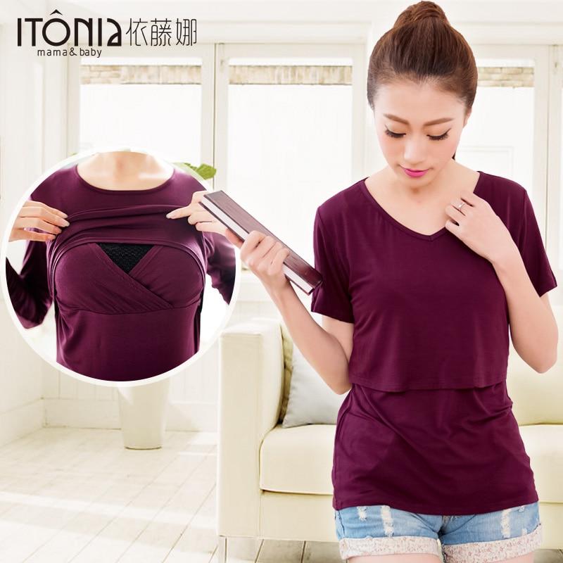 de75400767b 2015 New Mommy Nursing Wear Breastfeeding tops Maternity clothing Modal  Long sleeve T-shirt Out going Spring feeding clothing