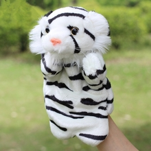 Kawaii Animal Plush Hand Puppet Finger Puppets Black And White Striped Tiger Plush Doll Toys For Children Baby Christmas Gifts