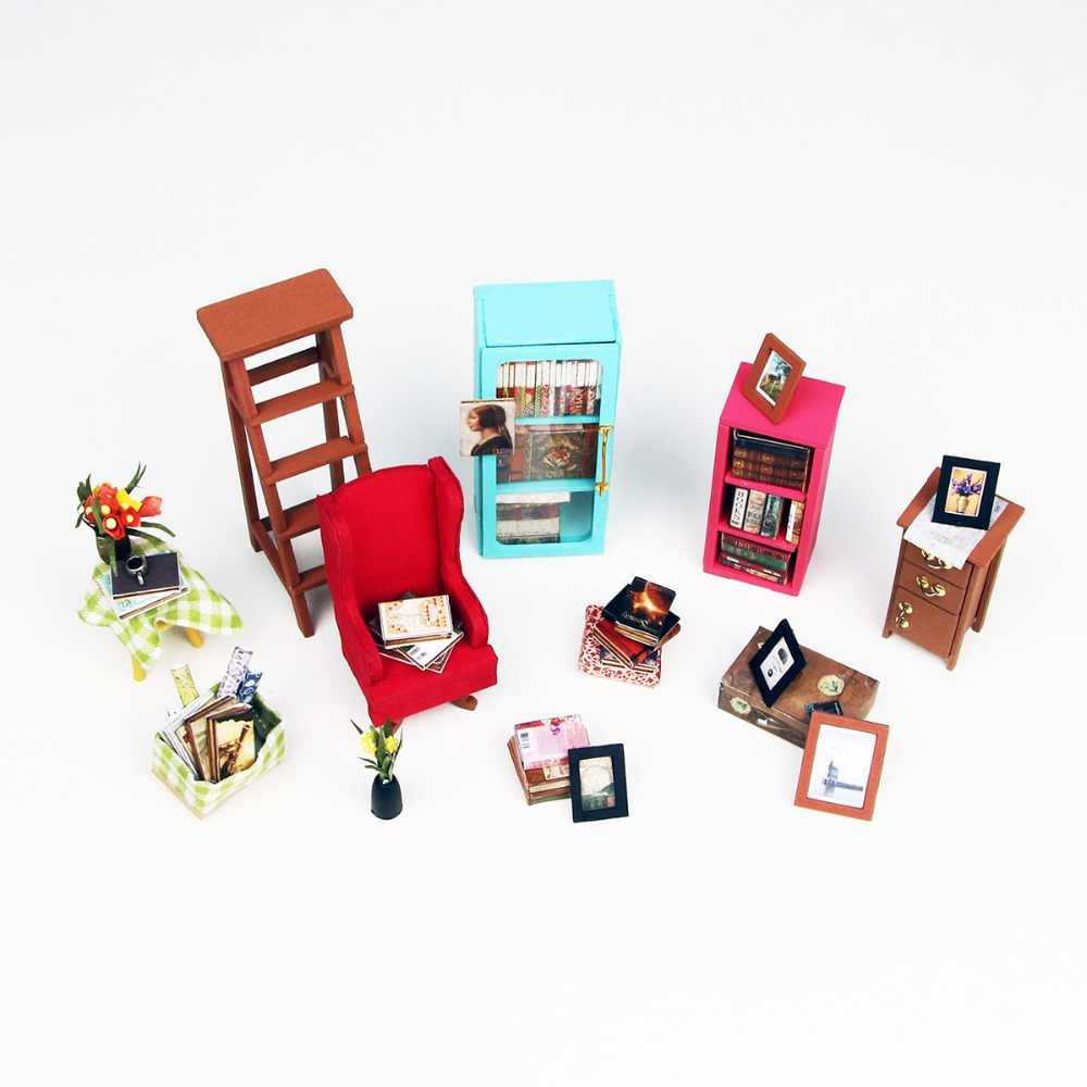 Robotime DIY Sam's Study Room with Furniture Children Adult Miniature Wooden Doll House Model Building Kits Dollhouse Toy DG102