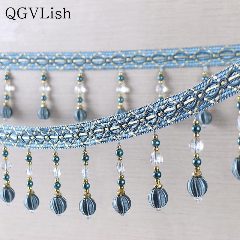 Qgvlish 12m/lot Crystal Beads Curtain Tassel Fringe Lace Trim Diy Sew Sofa Stage Lamp Lace Ribbon Belt Curtain Accessories Decor Home & Garden