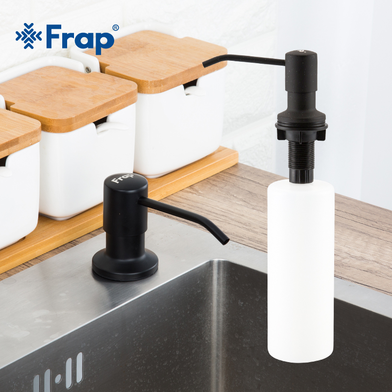 Frap Black Liquid Soap Dispensers Kitchen Sink Stainless Steel ABS Plastic Bottle Easy To Fill Kitchen Accessorie Y35014-4
