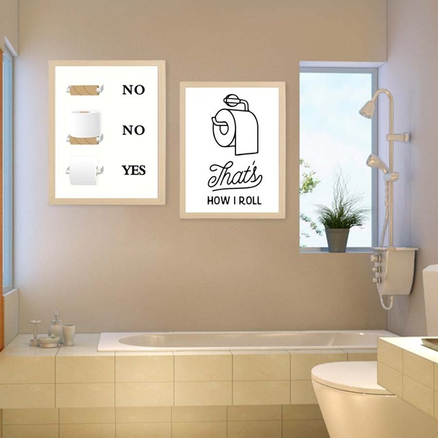 Toilet Tissue Modern Posterampprints Creative Canvas Painting Washroom Modular Wall Picture Restroom Art Home
