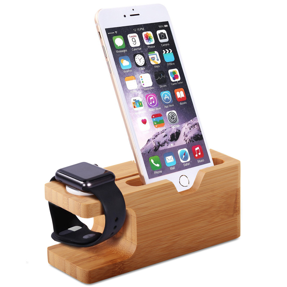 New For Apple Watch Charger Dock Bamboo Crafts decoration Holder Desk Charging Stand For iPhone X XS 8 7 6s Plus Phone Holder