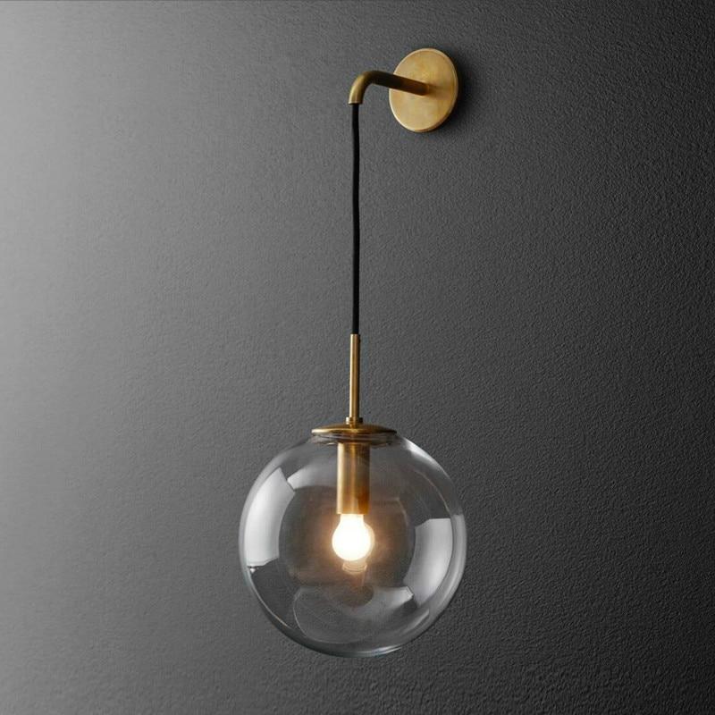 Modern minimalist hanging wire glass ball hardware wall lamp Nordic creative home corridor balcony decoration LED lighting