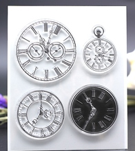 CLEAR STAMPS clock pocket watch time DIY Scrapbook Card album paper craft silicon rubber roller transparent stamp bird 12.7x10CM