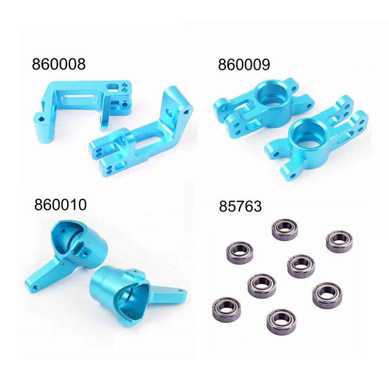 HSP 1/8 Upgrade Parts 860008 860009 860010 85763 Aluminum R/F Hub Carrier Steering Carrier Bearings 16*8*5 For 1/8 RC Hobby Car