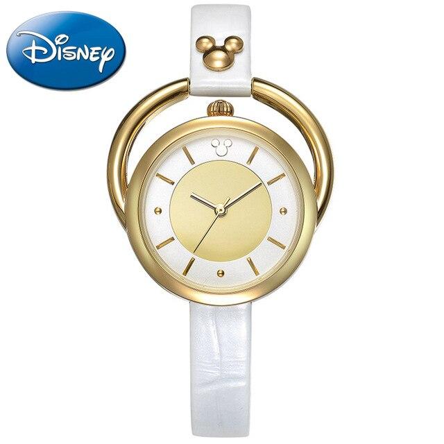 Disney marque autorisée montre de luxe pour femmes en or créatif anneau rotatif cadran mode dames robe horloge bracelet en cuir MK-11023
