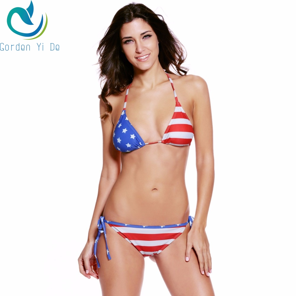 2018 Unique Summer Sexy Women Stars Stripes USA Flag Bikini Padded Bra Bandeau Swimsuit America Flag Swimwear Backless Beachwear