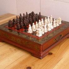 Juego de ajedrez antiguo de 2,5 kg por DHL, colección de ajedrez antiguo, juego de ajedrez de 32 piezas del ejército de terracota, piezas de ajedrez de mesa de madera