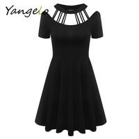 2016 Women Black Casual Punk Rock Hip Hop Dress Women Short Sleeve Gothic Clubwear Dresses Vestidos