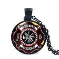 Горячая Новая Мода Подарок для Пожарных Длинное Ожерелье Черный Покрытием Пожарные Ювелирные Изделия Стеклянные Подвесные Ожерелье Dropshipping