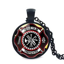 Hot New Fashion Gift for Firefighter Long Necklace Black Plated Fire Fighter Jewelry Glass  Pendant Necklace Dropshipping