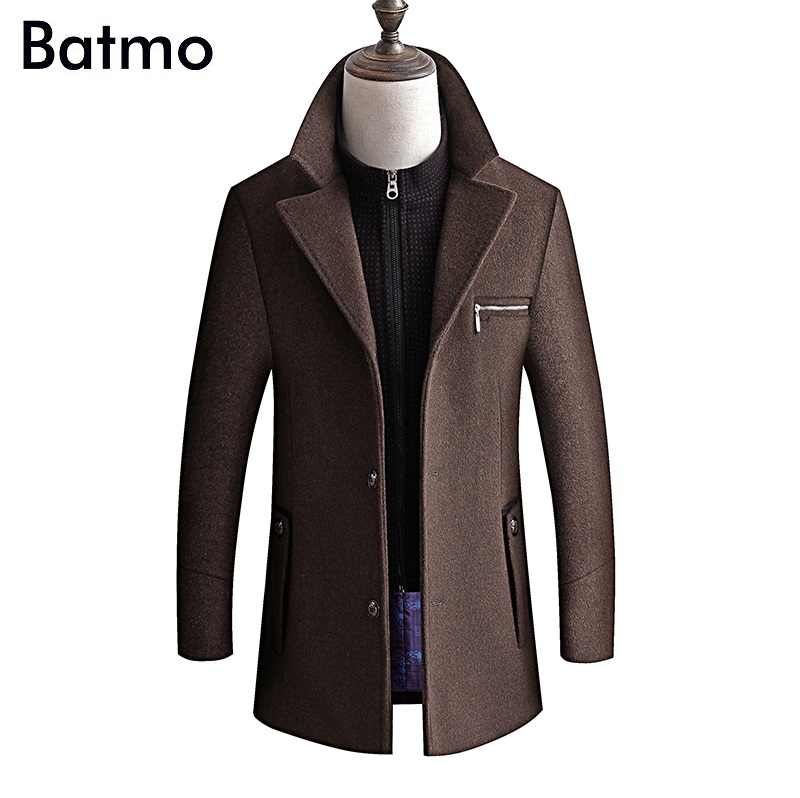 BATMO 2019 new arrival winter high quality wool thicked trench coat men,men's  wool jackets ,plus-size M-4XL,8863