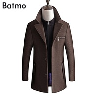 BATMO 2018 new arrival winter high quality wool thicked trench coat men,men's wool jackets ,plus size M 4XL,8863