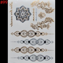 Wholesale women temporary tattoo waterproof metal gold tattoo big body art stickers flash tattoos paste non-toxic covering scars