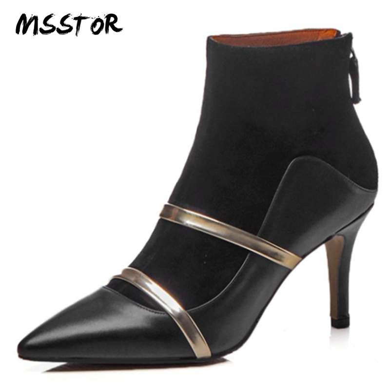 MSSTOR Mixed Colors High Heels Boots Women Plus Size Pointed Toe Fashion Autumn White Women Ankle Boots Zipper Stiletto Pumps summer autumn fashion ankle wrap back zipper pointed toe stiletto heel pumps concise strappy crisscross sueded high heels