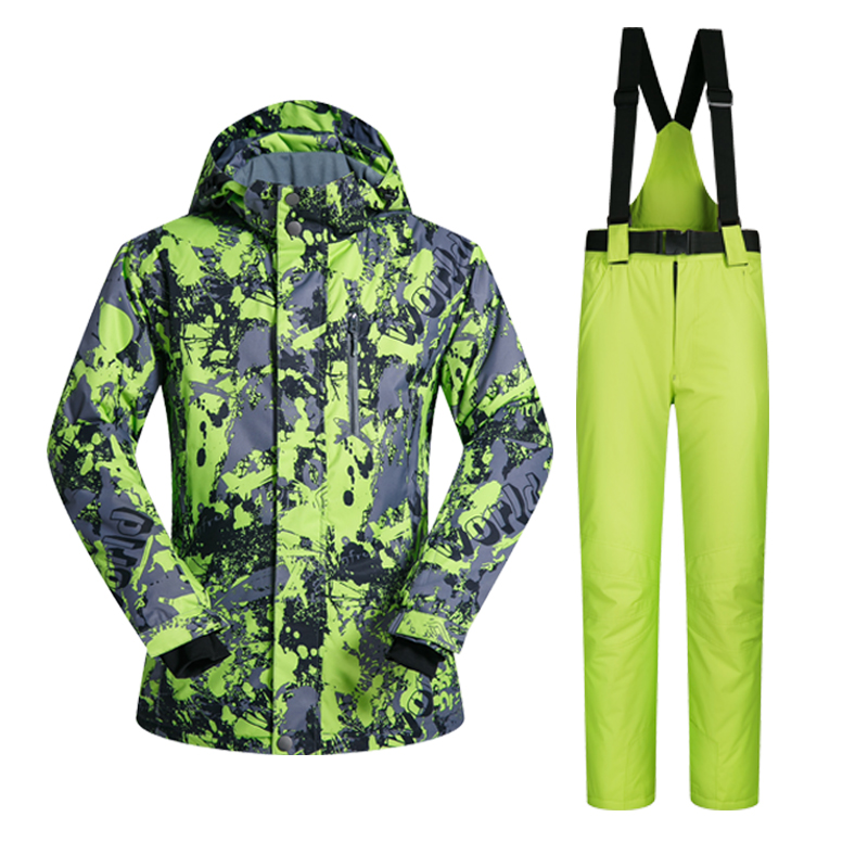2017 New High Quality Men Ski Suit Set Windproof  Waterproof Warmth Snowboard Jackets And Pants Winter Snow Sportswear Clothing winter jacket men made of goose feather ski suit jackets men light down men keep warm windproof youth middle age down jackets