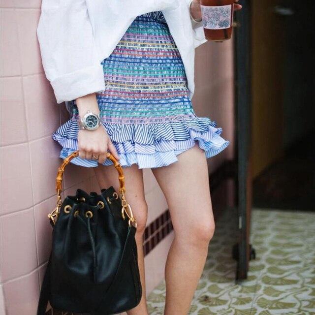 4561e9d09e7 2018 New Summer Casual Women High Waist Skirt Frill Pleated Mini Skirt  Rainbow Striped Tiered Ruffles Hem Smock Skirts
