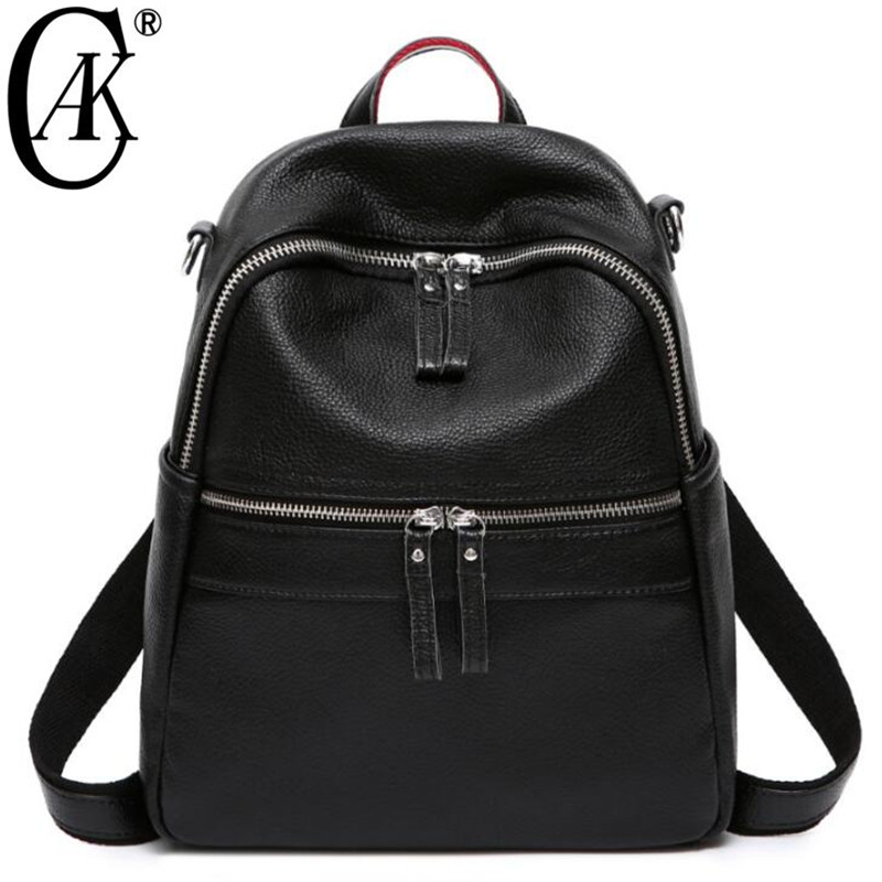CAK Backpack Female Genuine Leather Women Backpacks School Bag Black Multifunctional Natural Cow Leather Back pack on Shoulder backpack female genuine leather women backpacks school bag plaid strip multifunctional cow leather travel backpacks lf15833