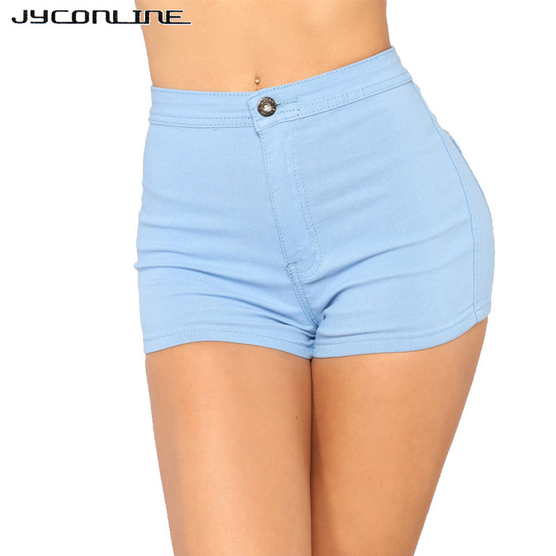 JYConline Solid High Waist Denim Shorts Women Blue Sexy Skinny Short Jeans Push Up Tight Women Shorts Feminino Casual Shorts XXL image
