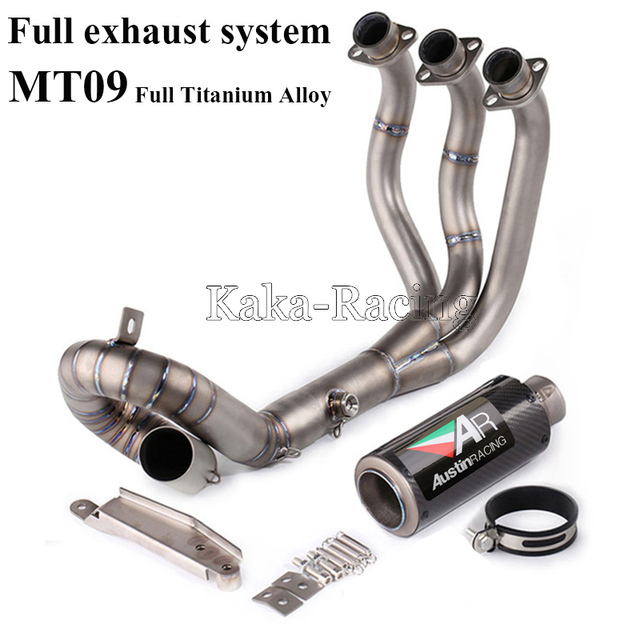US $404 95 11% OFF|MT09 2014 2018 Full Titanium alloy System carbon fiber  Motorcycle Exhaust muffler Front Mid link Slip On For Yamaha MT 09 FZ 09  -in