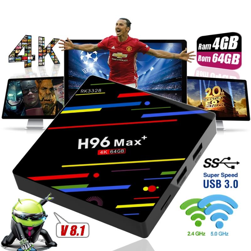 H96 Max + Plus 4GB Ram 32GB 64GB Rom USB 3.0 Android 8.1 Smart TV Box Dual WiFi RK3328 Set Top Boxes 4K HD 3D H.265 Media Player h96 max plus tv box android 8 1 4gb 32gb 64gb set top boxes rk3328 quad core 4k ultra hd h 265 usb 3 0 wifi 2 4g media player