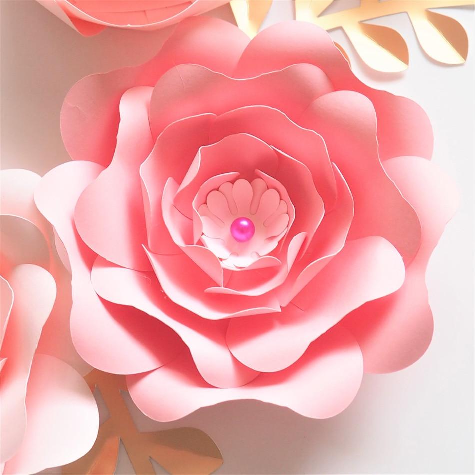 Us 14 8 47 Off Handmade Cardstock Baby Pink Fleur Diy Paper Flowers Gold Leaves Set 4 Nursery Wall Deco Baby Shower Girls Room Video Tutorials In