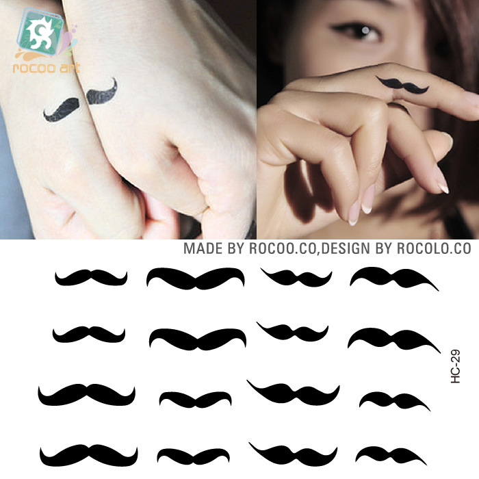 Body Art Beauty Makeup Pink Sexy Little Mustache Tattoo 47D Waterproof Temporary Tattoo Stickers