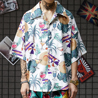 2019 summer men shirt style tree print hawaiian shirt men casual short sleeve hawaii shirt chemise homme asian
