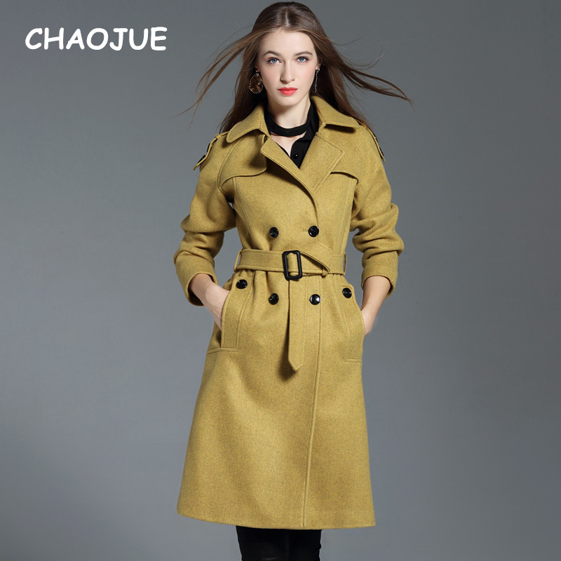 CHAOJUE Brand Europe High Quality Woolen Trench Coat for Women 2018 Autumn/Winter Double Breasted Extra Long Coat Free Shipping-in Wool & Blends from Women's Clothing    1