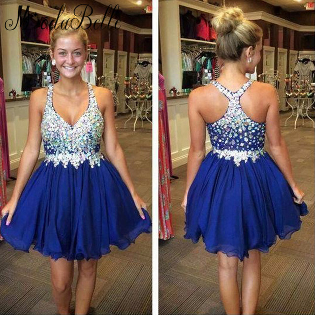 4862d3bd9e39 2016 Sweet Royal Blue Short Homecoming Dress Chiffon With Beads Crystal  Shine V Neck Junior Formal