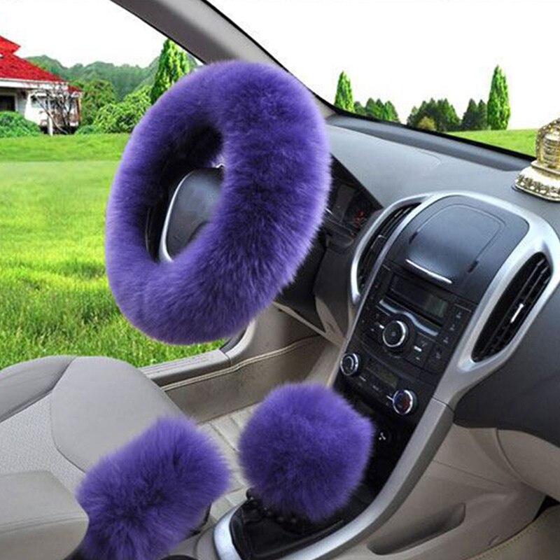 3 шт./компл. плюшевый мягкий теплый автомобильный комплект для рулевого колеса