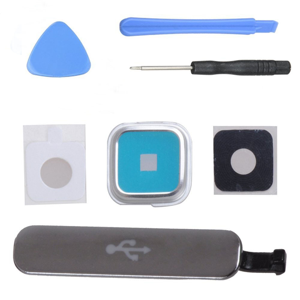 Replacement For Samsung Galaxy S5 G900F I9600 USB Charger Port Cover Charge+Camera Glass Lens Cover+ Free Tools