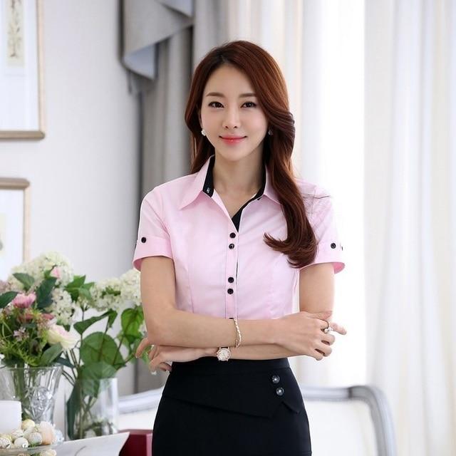 72cd608b9c Camisas de Verão Tops de Manga Curta de alta Qualidade Mulheres Formais Rosa  Moda Senhoras Escritório
