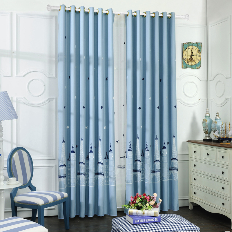 Aliexpress.com : Buy Castle Tower Embroidered Blue Curtains Children Faux  Linen Child Curtains For Living Room Cartoon Window Curtains For Bedroom  From ... Part 71
