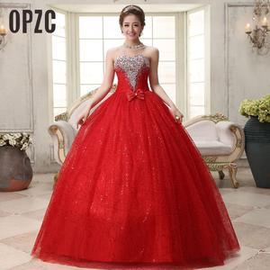Image 1 - リアルフォトカスタマイズ 2020 韓国スタイル甘いロマンチックな古典的なレース赤王女のウェディングドレスストラップレスマリアージュのウェディングドレス