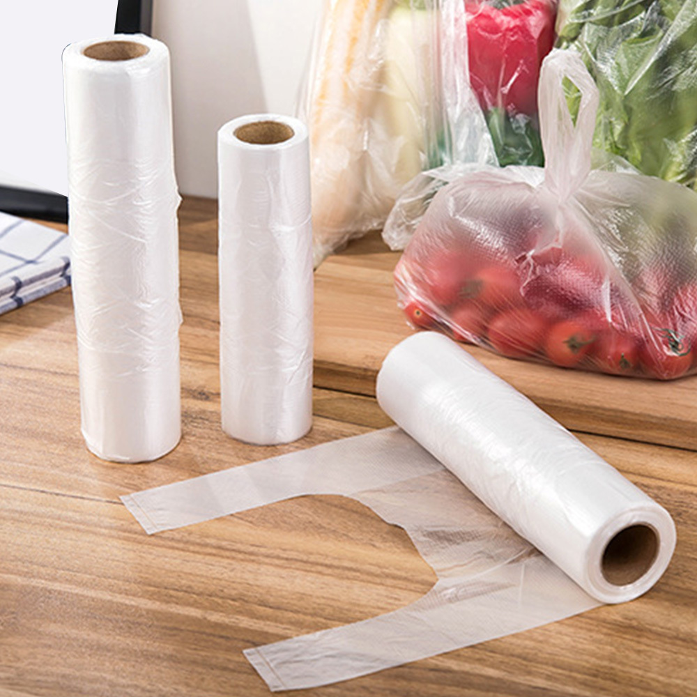 100Pcs Transpare Roll Fresh-keeping Plastic Bags Of Vacuum Food Saver Bag 3 Sizes Food Storage Bags With Handle Keep Fresh