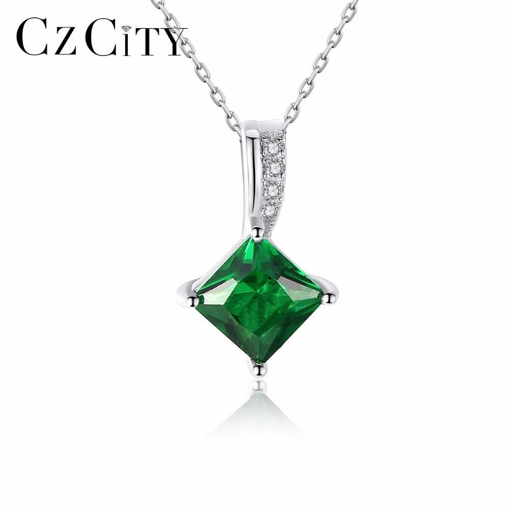 CZCITY Charme Chaîne Collier Vert Émeraude Cubique Zircone Populaire Bijoux 925 Sterling Argent Pendentif Collier pour les Femmes Cadeau